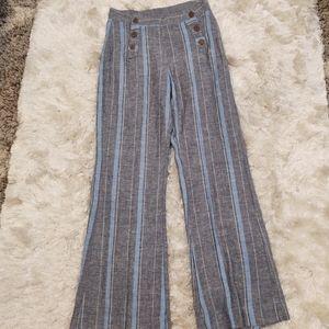 NWOT Indigo Rein Wide Leg Stripe Linen blend Pants